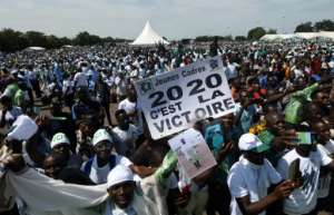 Tens of thousands of opposition supporters rallied in Ivory Coast.  By SIA KAMBOU (AFP)