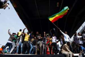 Tens of thousands of people attended Ethiopian Prime Minister Abiy Ahmed's first rally since coming to office in April.  By YONAS TADESE (AFP)