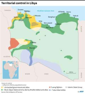 Map of forces involved in the fighting in Libya, as of January 12, 2020 following the start of a ceasefire Sunday..  By  (AFP)