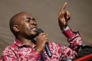 Testifying during an inquiry probing the killing of six people, Movement for Democratic Change (MDC) leader Nelson Chamisa, pictured October 2018, said his party was not a perpetrator but rather a victim of state-sponsored violence.  By Jekesai NJIKIZANA (AFP/File)