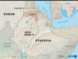 Map of Ethiopia and Sudan locating the Ethiopian region of Tigray and the Sudanese towns of Kassala and Gadaref.  By Simon MALFATTO (AFP)