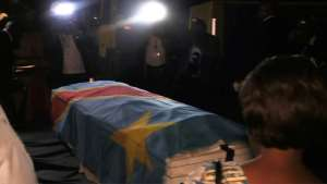 The coffin containing the remains of former Congolese opposition leader Etienne Tshisekedi was flown back to Kinshasa on Thursday.  By Junior KANNAH (AFP)