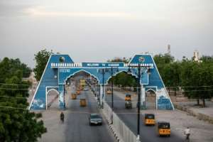 The city gate at Maiduguri in Nigeria, where travellers using the key Damaturu road have been abducted by jihadists.  By FATI ABUBAKAR (AFP/File)