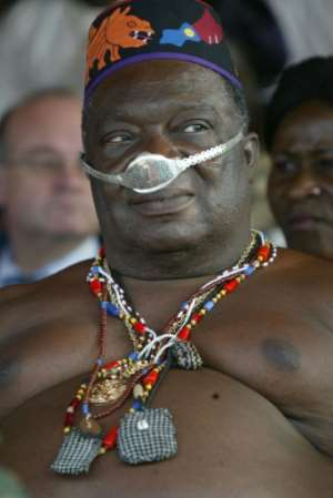 The ancestral king of Dahomey, Dah Agoli Agbo, pictured in ceremonial regalia in 2004.  By PIUS UTOMI EKPEI (AFP)
