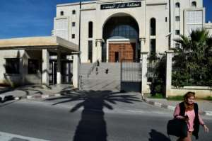 The Algerian Dar Al-Baida court on Thursday, where the trial of the suspects accused of killing Herve Gourdel is taking place.  By RYAD KRAMDI (AFP)