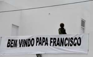 The Argentinian pope addressed the crowd in Portuguese.  By Tiziana FABI (AFP)