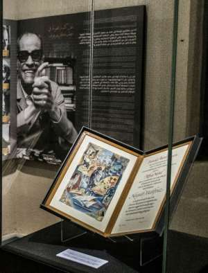 The author's Nobel certificate on display in a glass case at his museum in the Egyptian capital.  By Khaled DESOUKI (AFP)