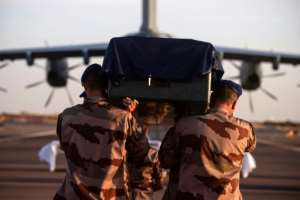 The bodies of the soldiers killed in the crash have been flown back to France for burial.  By Thomas PAUDELEUX (ECPAD/AFP)