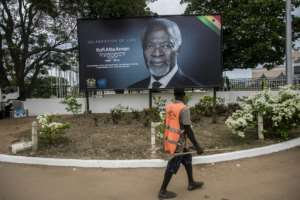 The body of former UN chief Kofi Annan has been kept at Accra International Conference Centre prior to the state funeral.  By CRISTINA ALDEHUELA (AFP)