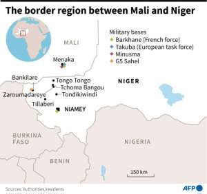 Map showing the border region between Mali and Niger.  By  (AFP)