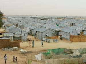 The Bakassi camp houses thousands of people who have been displaced by Boko Haram's brutal jihad - social distancing here is very difficult, say camp workers.  By Audu Marte (AFP)