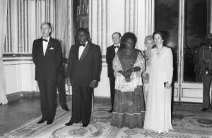 The genocide was sparked by the assassination president Juvenal Habyarimana (2ndL).  By STF (AFP/File)