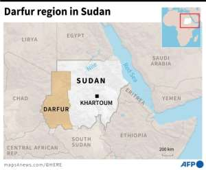 Map locating El Geneina in the Darfur region of Sudan, where an ongoing clashes have killed over 80 people.  By  (AFP)