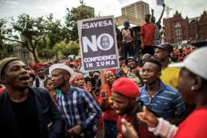 The decision earlier this year by President Jacob Zuma to sack respected finance minister Pravin Gordhan fanned years of public anger over government corruption scandals, record unemployment and slowing economic growth.