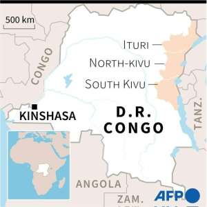 The Democratic Republic of Congo's troubled eastern provinces.  By Sophie RAMIS (AFP)