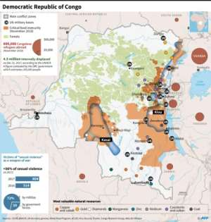 Map showing main conflict zones, refugees, food insecurity and mineral resources in the Democratic Republic of Congo..  By Dario INGIUSTO (AFP)