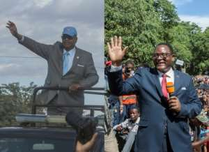 The election is practically a two-horse race between President Peter Mutharika, left, and his main rival Lazarus Chakwera, who lost the last election by 159,000 votes.  By AMOS GUMULIRA (AFP/File)