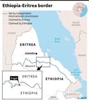 Map of the border between Ethiopia and Eritrea that was set by an independent international commmission, along with Ethiopian and Eritrean claims around the village of Engal.  By Dario INGIUSTO (AFP)