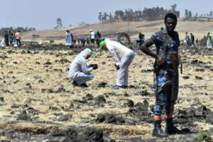 The Ethiopian Airlines plane plunged to the ground near Addis Ababa shortly after takeoff. By TONY KARUMBA (AFP/File)