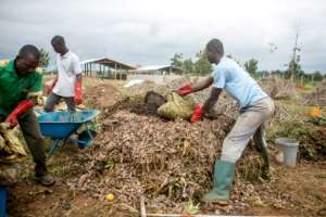 The facility processes around six tonnes of organic waste every week, turning it into 200 cubic metres of biogas.  By Yanick FOLLY (AFP)