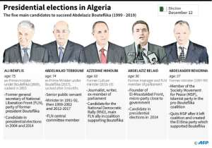 The five candidates for the presidential elections in Algeria.  By Vincent LEFAI (AFP)