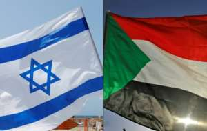 The flags of Israel and Sudan; a deal with Israel would make Sudan the third Arab country since August -- after the United Arab Emirates and Bahrain -- to forge peace with the Jewish nation.  By JACK GUEZ, ASHRAF SHAZLY (AFP)