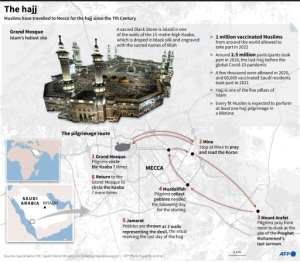 Graphic on the annual hajj, scheduled for August 9-14 this year..  By Gal ROMA (AFP)