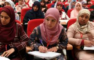 The institute trains women too to serve as Muslim preachers but, while clases are mixed, prayers, sports and meals are not. By FADEL SENNA (AFP)