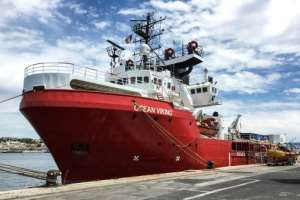 The Ocean Viking rescue ship -- charted by French aid group SOS-Mediterranee -- has been heading through the waters towards Libya in its first mission since a three-month suspension during the health crisis.  By Shahzad ABDUL (AFP)