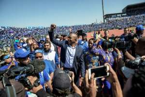 The leader of the Democratic Alliance leader Mmusi Maimane is a gifted orator and smooth campaigner. By GIANLUIGI GUERCIA (AFP)