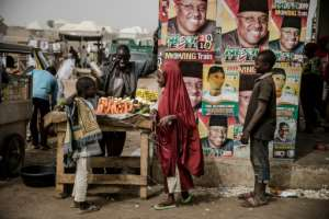 The mainstream parties are besieging Nigerians with classic election messages -- but Mr Jollof, a comic who conducts his campaign in Pidgin, has found a different way to reach the youth vote.  By Luis TATO (AFP)