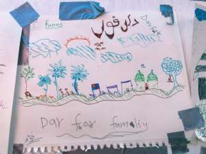 The migrants were invited to draw their nightmares and best memories.  By Anne CHAON (AFP)