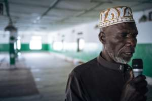 The muezzin at the Katindo mosque in Goma, northeastern DR Congo, called for prayers in a deserted house of worship on Sunday after the authorities appealed for social distancing.  By ALEXIS HUGUET (AFP)