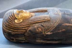 The mummies being moved on Saturday were discovered over a century ago but new finds are being made; this wooden sarcophagus was revealed to the public on November 2020.  By Ahmed HASAN (AFP)
