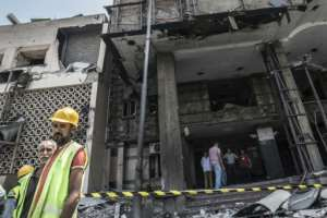 The National Cancer Institute in the Egyptian capital Cairo was damaged in the car blast.  By Khaled DESOUKI (AFP)