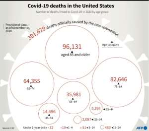 The number of deaths officially linked to Covid-19 in 2020, by age group, according to provisional US CDC data.  By Patricio ARANA (AFP)