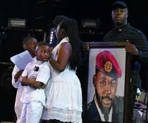 The singer's five children attended the ceremony.  By ISSOUF SANOGO (AFP)