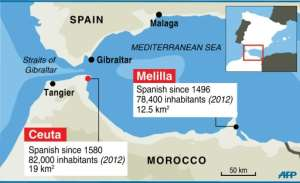 The Spanish enclaves of Ceuta and Melilla are the only land borders that the European Union shares with Africa.  By AFP Graphics, J.Jacobsen, JJ (AFP)