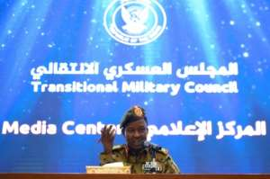 The spokesman of Sudan's Transitional Military Council, Lieutenant General Shamseddine Kabbashi, speaks during a press conference in Khartoum on May 7, 2019. By MOHAMED EL-SHAHED (AFP)