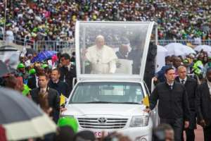 The stadium was jampacked and many had travelled hundreds of miles to see the pontiff.  By GIANLUIGI GUERCIA (AFP)
