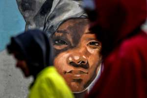 The painters are from Angola, Brazil, France, Israel, Liberia, Peru, Portugal, Russia, Salvador, Spain and Uruguay.  By PATRICIA DE MELO MOREIRA (AFP)
