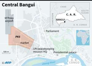 Map locating the PK5 district in Bangui.  By Sophie RAMIS (AFP)