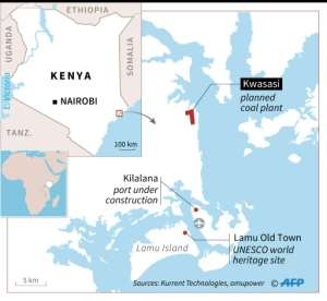The proposed location of the coal-fired power station near the Lamu UNESCO world heritage site.  By Gillian HANDYSIDE (AFP)