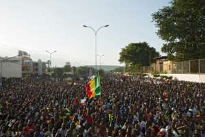 The rally, originally organised as an anti-Keita protest, was recast to as a celebration.  By ANNIE RISEMBERG (AFP)