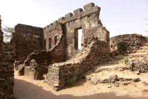 The remains of buildings on Kunta Kinteh island in the Gambia River, previously used for the slave trade