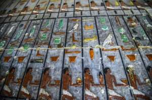 The tomb is mostly made of white limestone bricks, and ornate paintings boast a special green resin throughout.  By Mohamed el-Shahed (AFP)