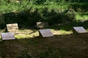 The tombstones of some of the murdered monks pictured at the Tibhirine monastery in 2006.  By FAYEZ NURELDINE (AFP)