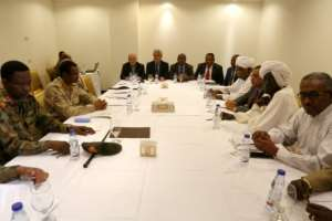 The talks between Sudan's ruling generals and protest leaders are being held at a luxury hotel in Khartoum.  By ASHRAF SHAZLY (AFP)