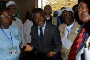 The UN Special Representative for the Central African Republic Parfait Onanga-Anyanga (C, pictured December 2015) said they are