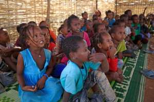 The United Nations says children make up 45 percent of the 49,000 Ethiopians who have sought refuge in neighbouring Sudan.  By ASHRAF SHAZLY (AFP)